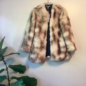 Zara Trafaluc Faux Fur Coat Cream and Brown Small